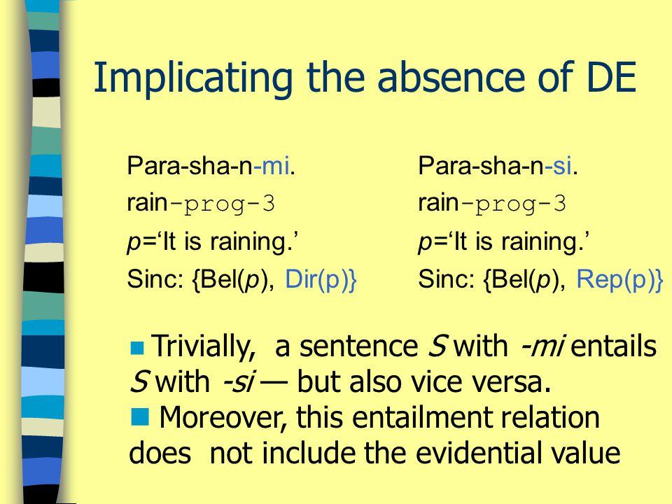 Implicating the absence of DE Para-sha-n-mi.