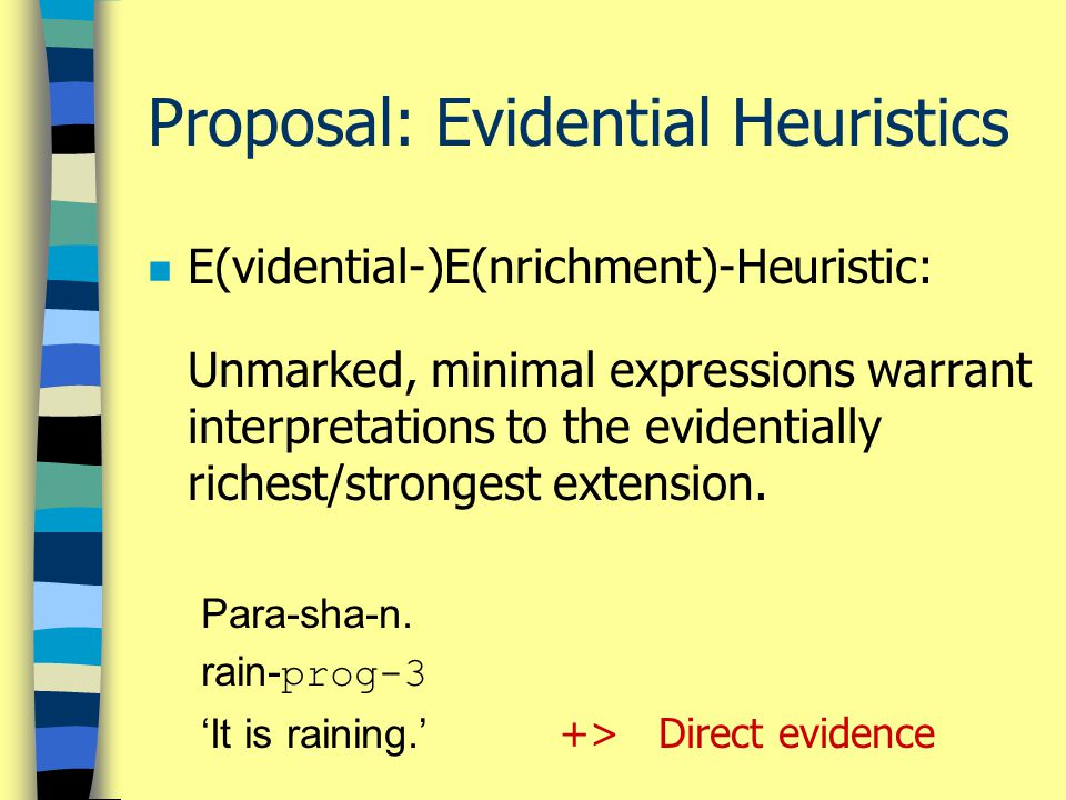 Proposal: Evidential Heuristics n E(vidential-)E(nrichment)-Heuristic: Unmarked, minimal expressions warrant interpretations to the evidentially richest/strongest extension.