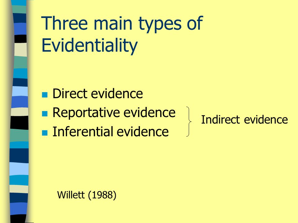 Three main types of Evidentiality n Direct evidence n Reportative evidence n Inferential evidence Indirect evidence Willett (1988)