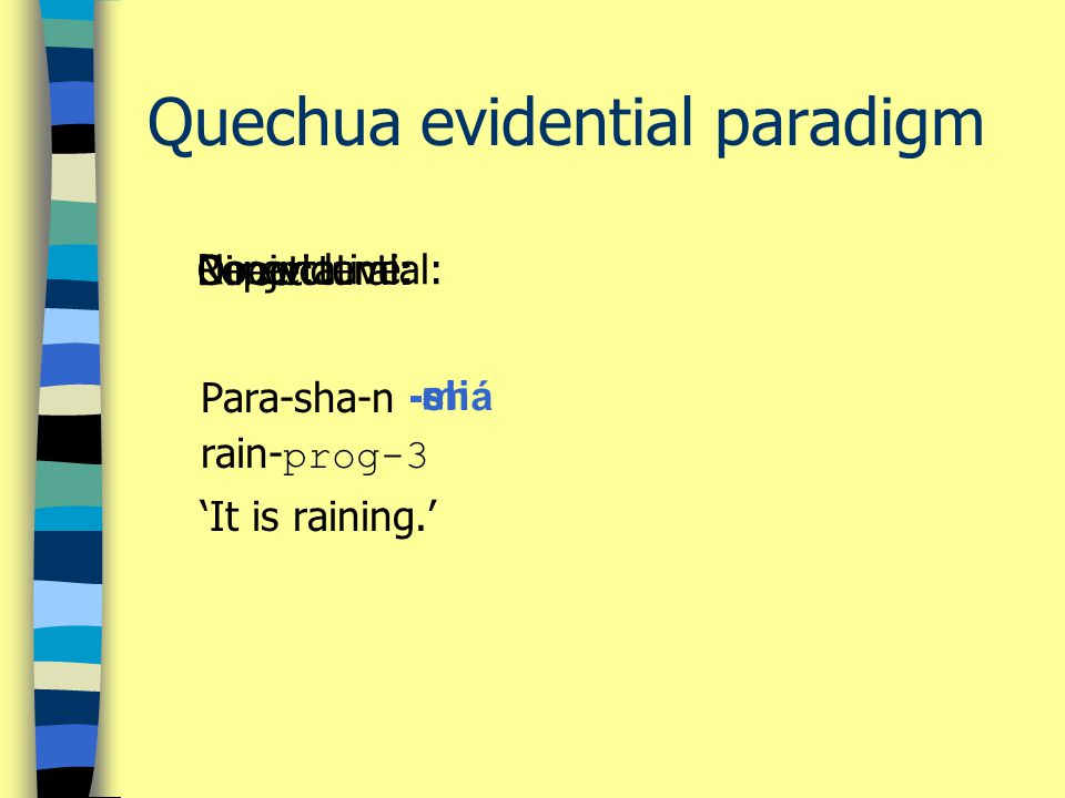 Quechua evidential paradigm Para-sha-n rain- prog-3 'It is raining.' Direct: -mi No evidential:Reportative: -si Conjectural: -chá