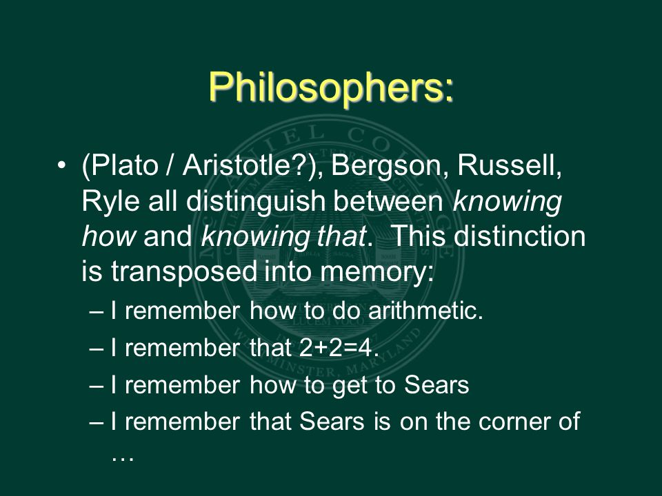 Philosophers: (Plato / Aristotle ), Bergson, Russell, Ryle all distinguish between knowing how and knowing that.