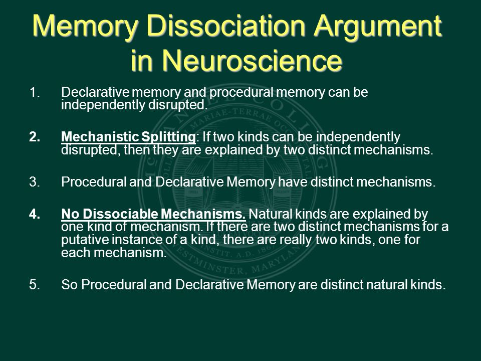 Memory Dissociation Argument in Neuroscience 1.Declarative memory and procedural memory can be independently disrupted.