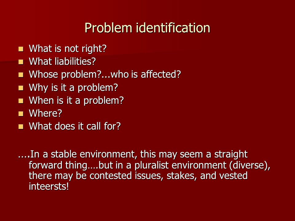 Problem identification What is not right.What is not right.