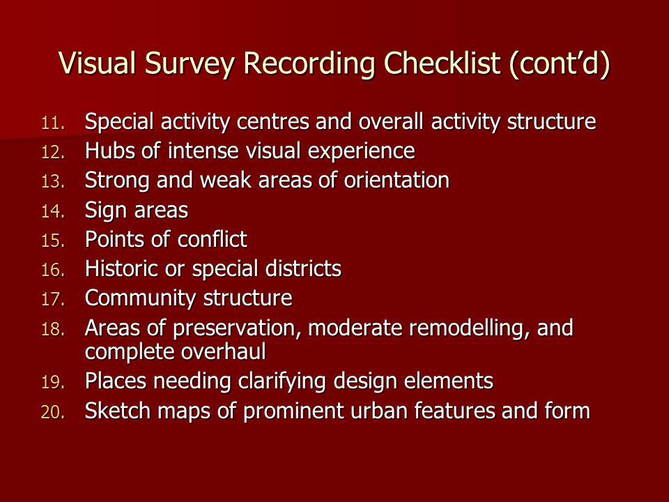 Visual Survey Recording Checklist (cont'd) 11.
