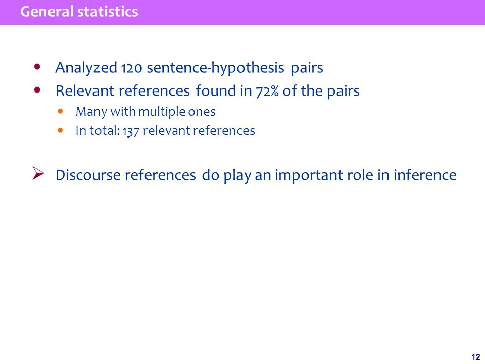 12 General statistics  Discourse references do play an important role in inference Analyzed 120 sentence-hypothesis pairs Relevant references found in 72% of the pairs Many with multiple ones In total: 137 relevant references