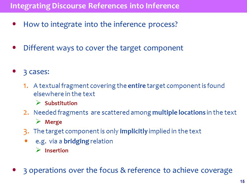 15 Integrating Discourse References into Inference How to integrate into the inference process.