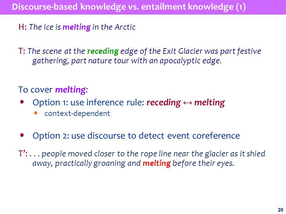 20 Discourse-based knowledge vs.