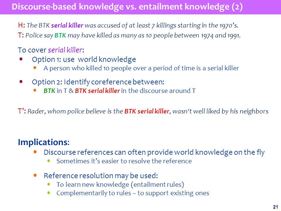 21 Discourse-based knowledge vs.