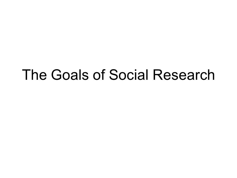 The Goals of Social Research