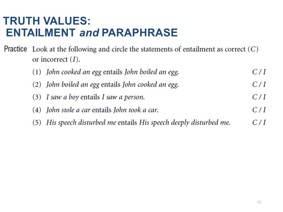 TRUTH VALUES: ENTAILMENT and PARAPHRASE 10