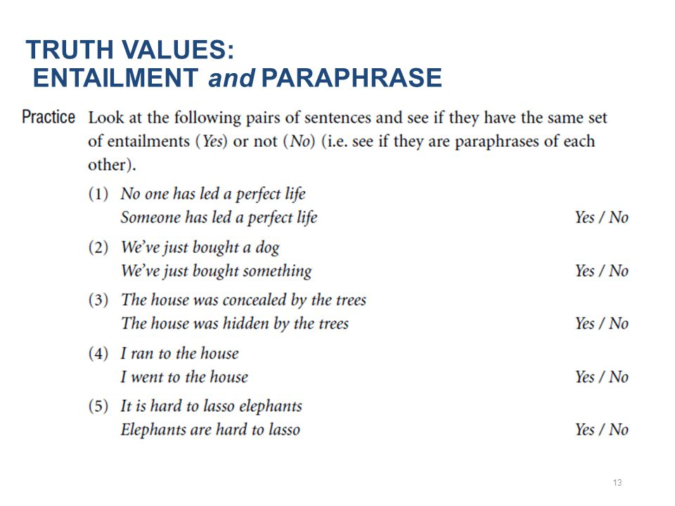 TRUTH VALUES: ENTAILMENT and PARAPHRASE 13