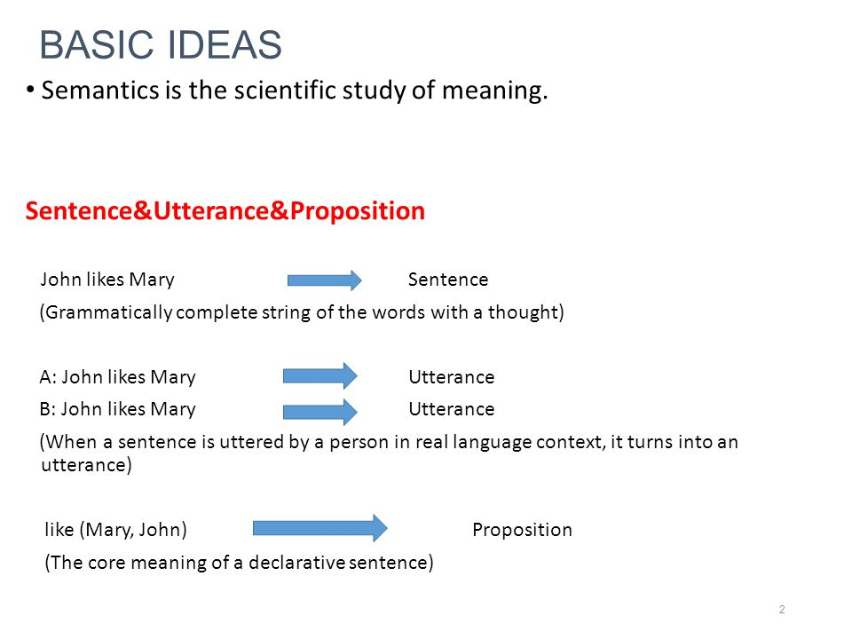 BASIC IDEAS Semantics is the scientific study of meaning. Sentence&Utterance&Proposition John likes Mary Sentence (Grammatically complete string of th