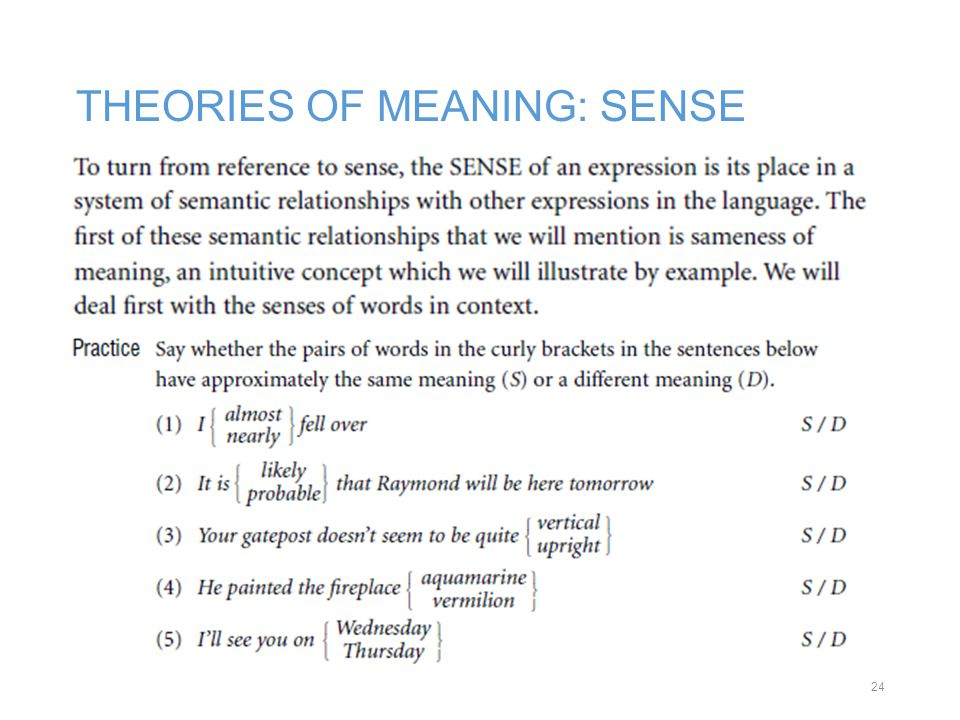 THEORIES OF MEANING: SENSE 24