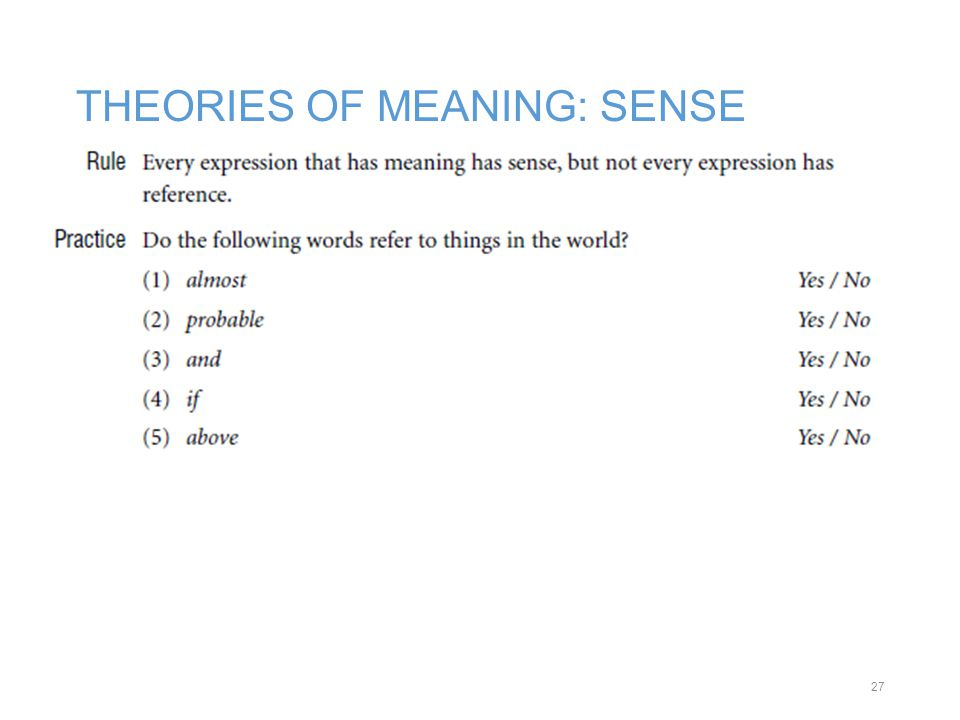 THEORIES OF MEANING: SENSE 27