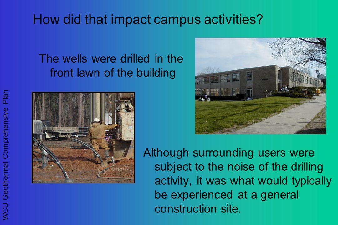 WCU Geothermal Comprehensive Plan How did that impact campus activities.