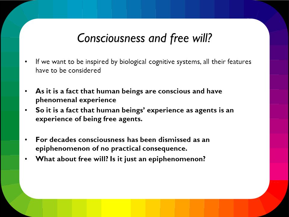 Consciousness and free will.