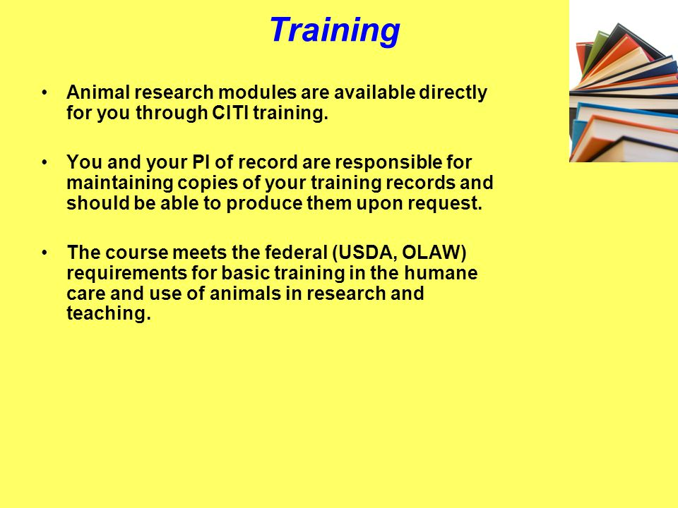Training For human subjects protocols, you need to access CITI training modules https://www.citiprogram.org/ https://www.citiprogram.org/ *PHSC rules mandate all researchers must be properly trained in Human Subjects rules and regulations.