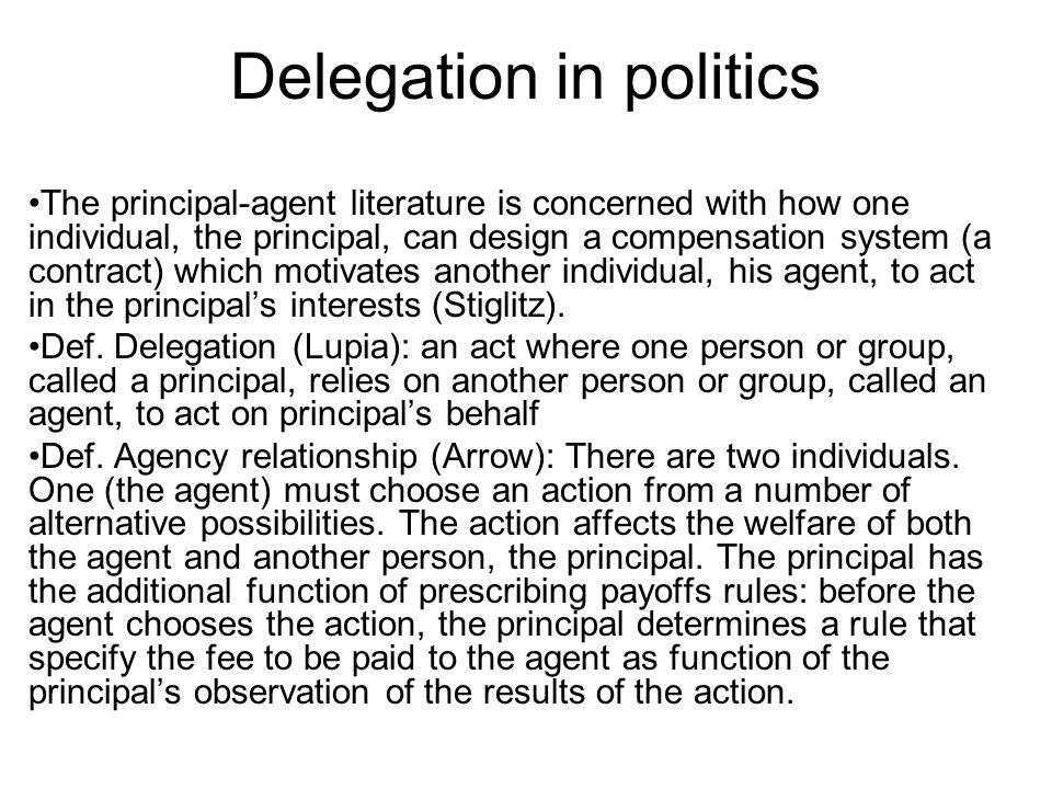 Delegation in politics Def.