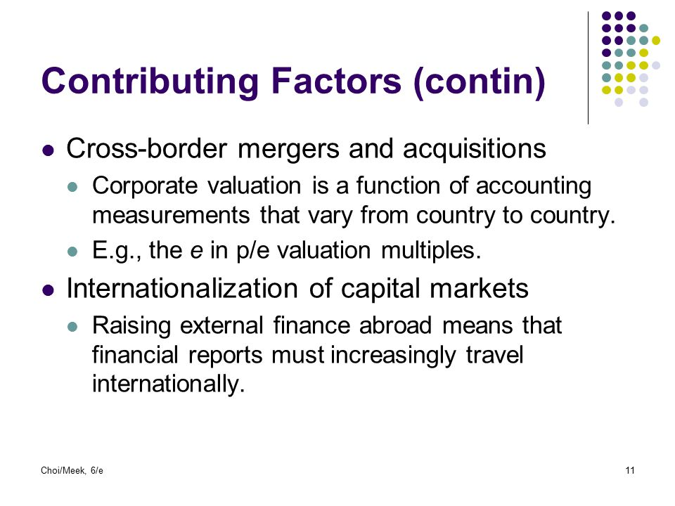 Choi/Meek, 6/e11 Contributing Factors (contin) Cross-border mergers and acquisitions Corporate valuation is a function of accounting measurements that