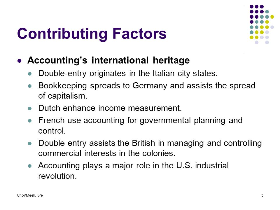 Choi/Meek, 6/e5 Contributing Factors Accounting's international heritage Double-entry originates in the Italian city states. Bookkeeping spreads to Ge