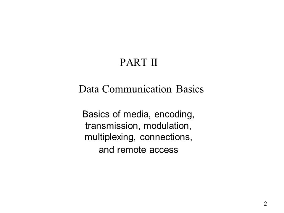 2 PART II Data Communication Basics Basics of media, encoding, transmission, modulation, multiplexing, connections, and remote access