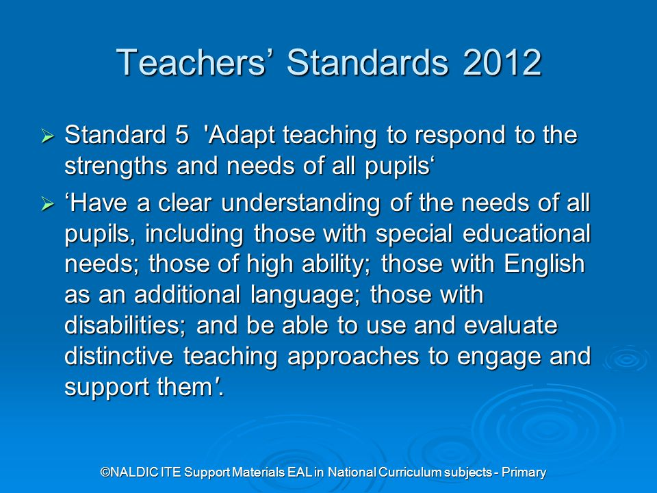 ©NALDIC ITE Support Materials EAL in National Curriculum subjects - Primary Role of the primary teacher  Task 1 What makes a welcoming school.