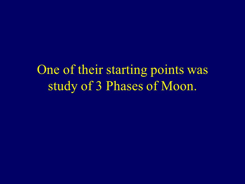 One of their starting points was study of 3 Phases of Moon.