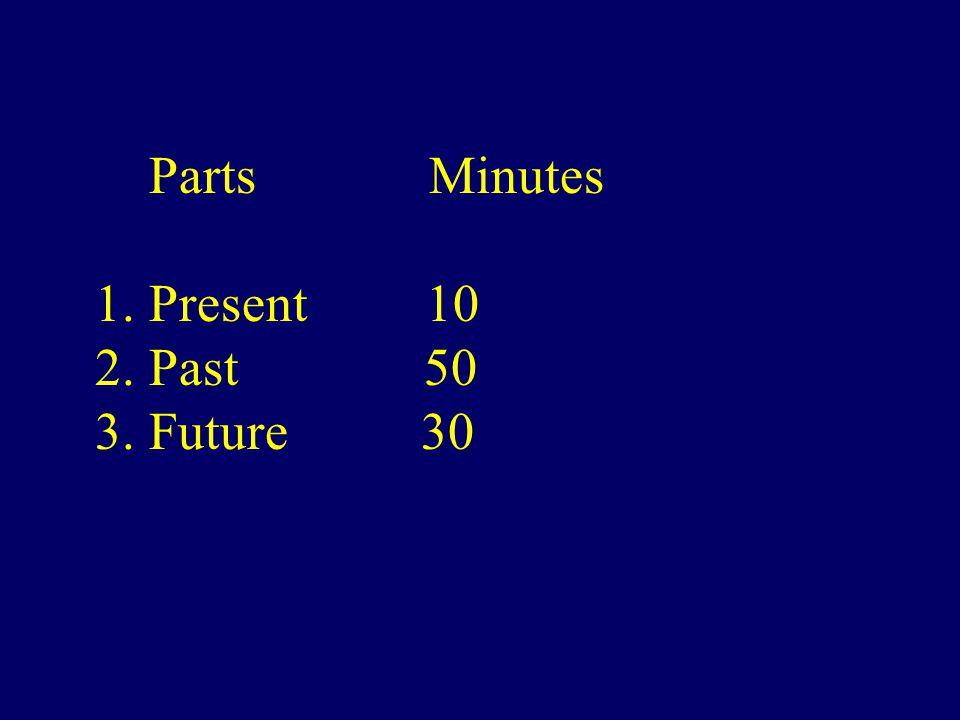 Parts Minutes 1. Present 10 2. Past 50 3. Future 30