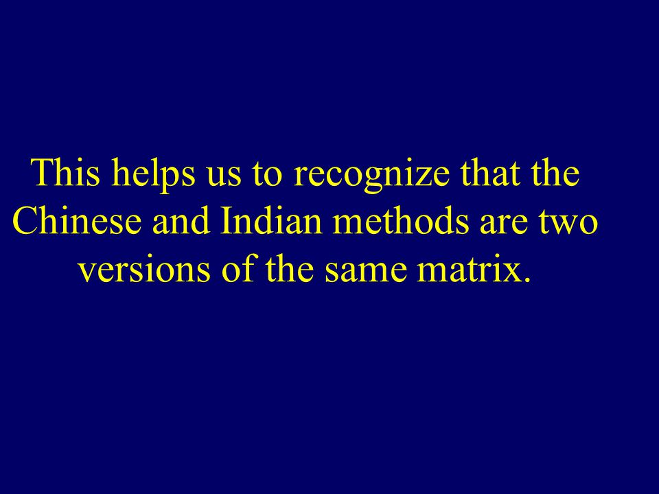 This helps us to recognize that the Chinese and Indian methods are two versions of the same matrix.