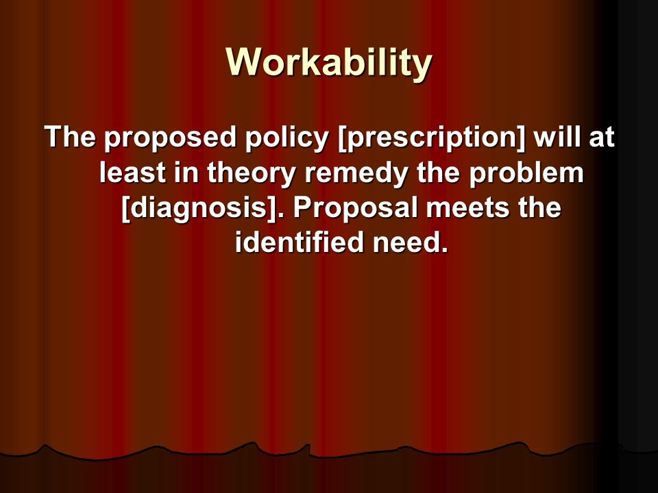 propositions of policy: stock issues (systematized common sense) Need for change/action [identification of deficiencies -- problem diagnosis] Need for