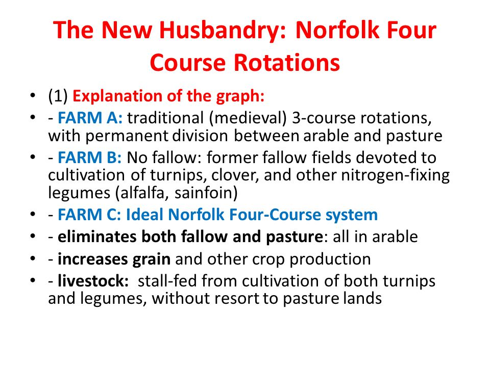 The New Husbandry: Norfolk Four Course Rotations (1) Explanation of the graph: - FARM A: traditional (medieval) 3-course rotations, with permanent div