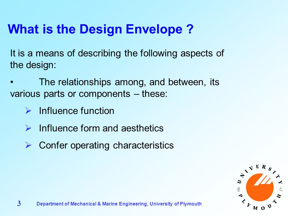 Department of Mechanical & Marine Engineering, University of Plymouth 4 What is the Design Envelope .