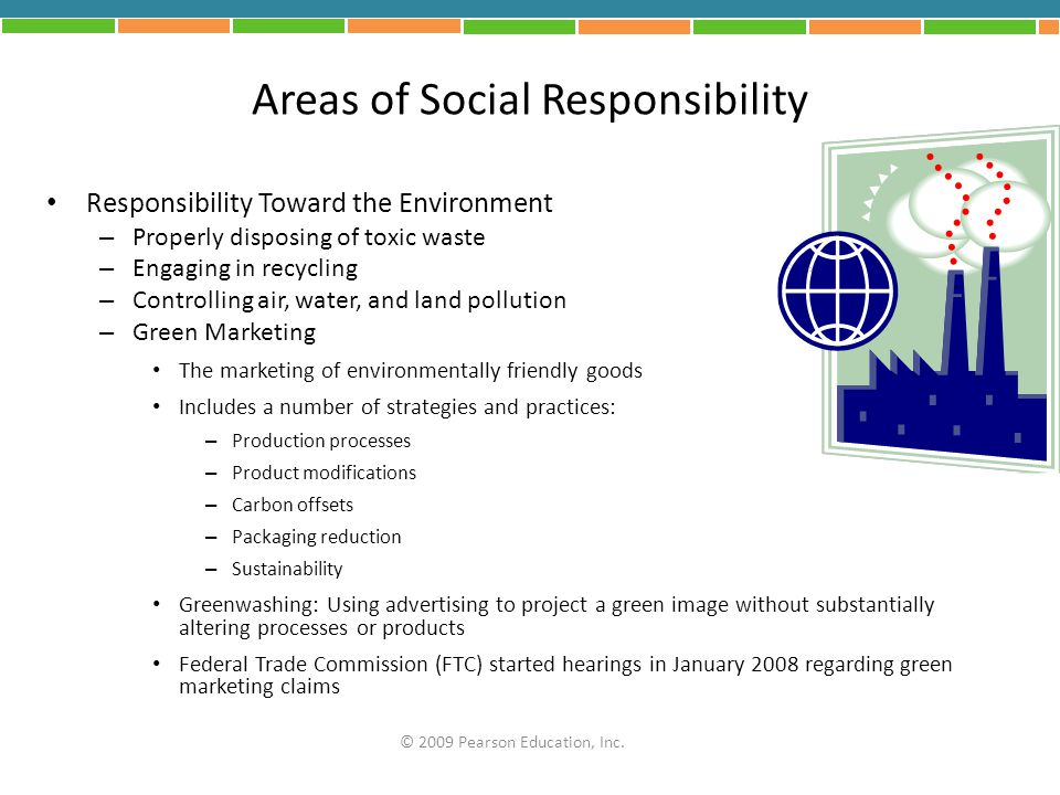 Areas of Social Responsibility Responsibility Toward the Environment – Properly disposing of toxic waste – Engaging in recycling – Controlling air, wa