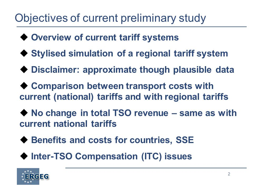 23 REETS simulation: ITC mechanism/2 ● Regulated allowed revenue (AR) determined and approved by NRAs for each TSO ● Tariffs may be collected by individual TSOs (e.g.