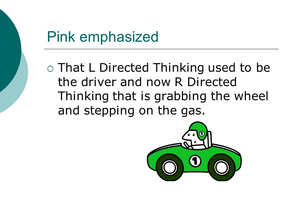 Pink emphasized  That L Directed Thinking used to be the driver and now R Directed Thinking that is grabbing the wheel and stepping on the gas.