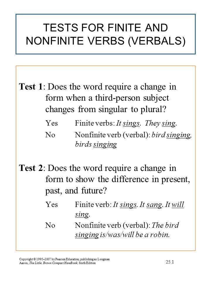 Copyright © 1995–2007 by Pearson Education, publishing as Longman Aaron, The Little, Brown Compact Handbook, Sixth Edition TERMS USED TO DESCRIBE VERBS lTense äThe time of the verb's action.