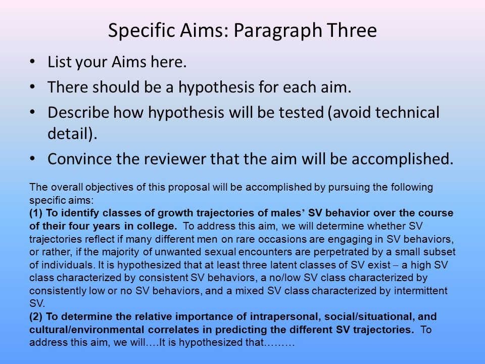 Specific Aims: Paragraph Three List your Aims here. There should be a hypothesis for each aim. Describe how hypothesis will be tested (avoid technical