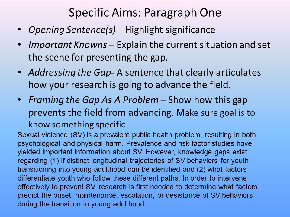 Specific Aims: Paragraph One Opening Sentence(s) – Highlight significance Important Knowns – Explain the current situation and set the scene for prese