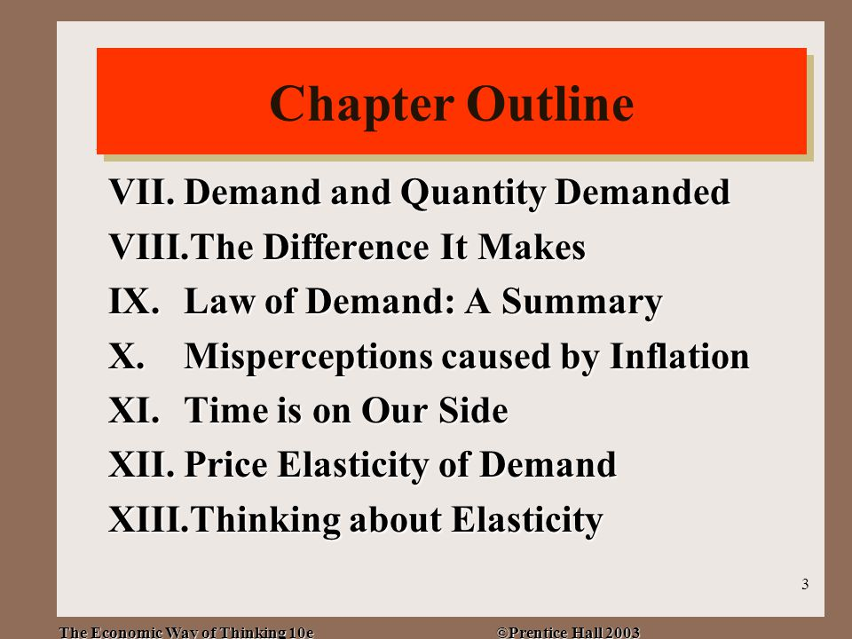 The Economic Way of Thinking 10e ©Prentice Hall 2003 3 Chapter Outline VII.Demand and Quantity Demanded VIII.The Difference It Makes IX.Law of Demand: A Summary X.Misperceptions caused by Inflation XI.Time is on Our Side XII.Price Elasticity of Demand XIII.Thinking about Elasticity Chapter Outline