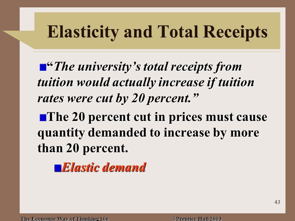 The Economic Way of Thinking 10e ©Prentice Hall 2003 43 Elasticity and Total Receipts The university's total receipts from tuition would actually increase if tuition rates were cut by 20 percent. The 20 percent cut in prices must cause quantity demanded to increase by more than 20 percent.