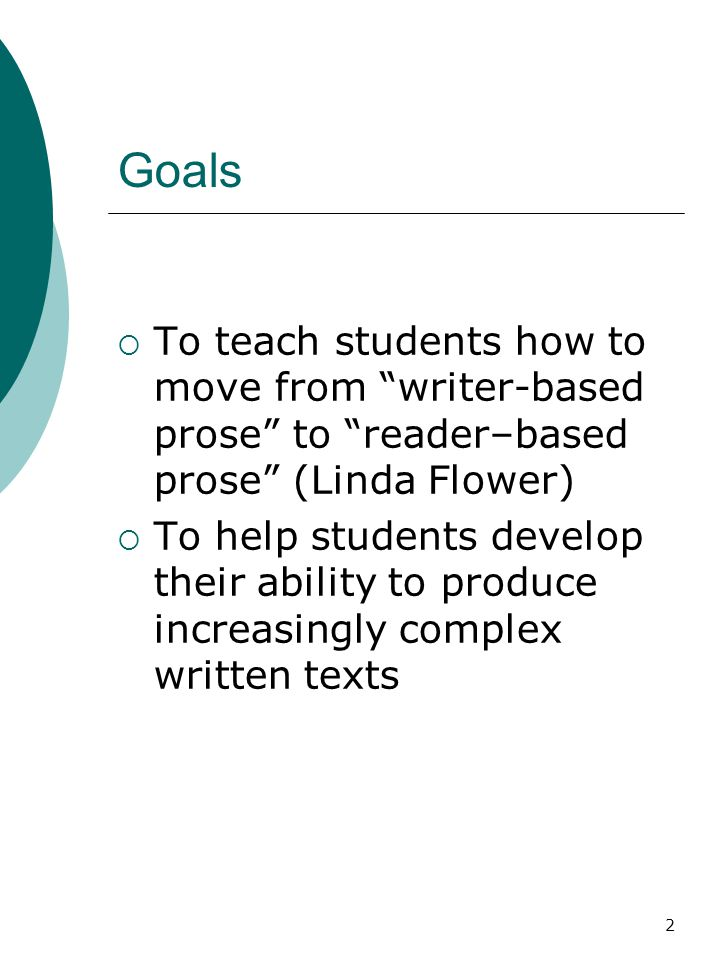 2 Goals  To teach students how to move from writer-based prose to reader–based prose (Linda Flower)  To help students develop their ability to produce increasingly complex written texts