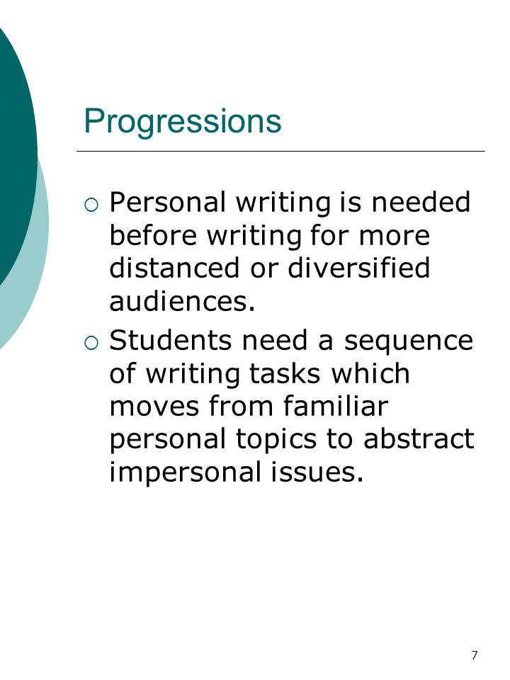 8 Progressions  Move from small, known audience to distant unknown, general audience  Move from personal experience to abstract reasoning and researched examples