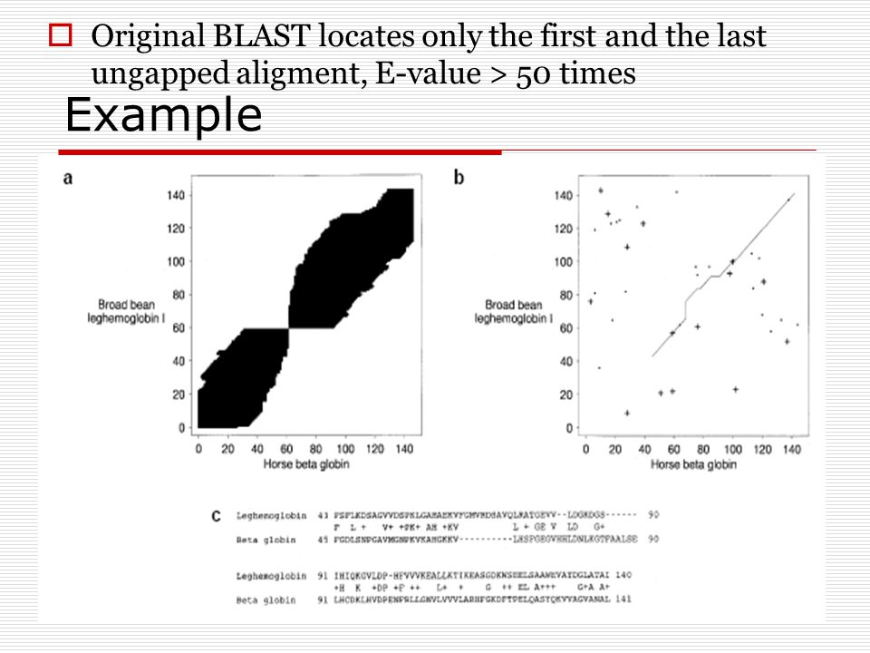 Example  Original BLAST locates only the first and the last ungapped aligment, E-value > 50 times