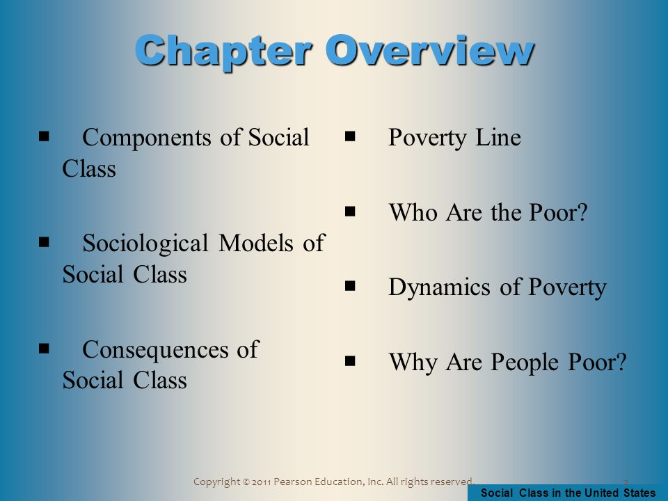 Social Class in the United States Copyright © 2011 Pearson Education, Inc.