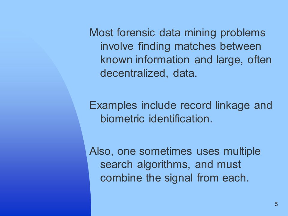 16 Rukhin (2004) describes issues in combining algorithms for biometric identification.
