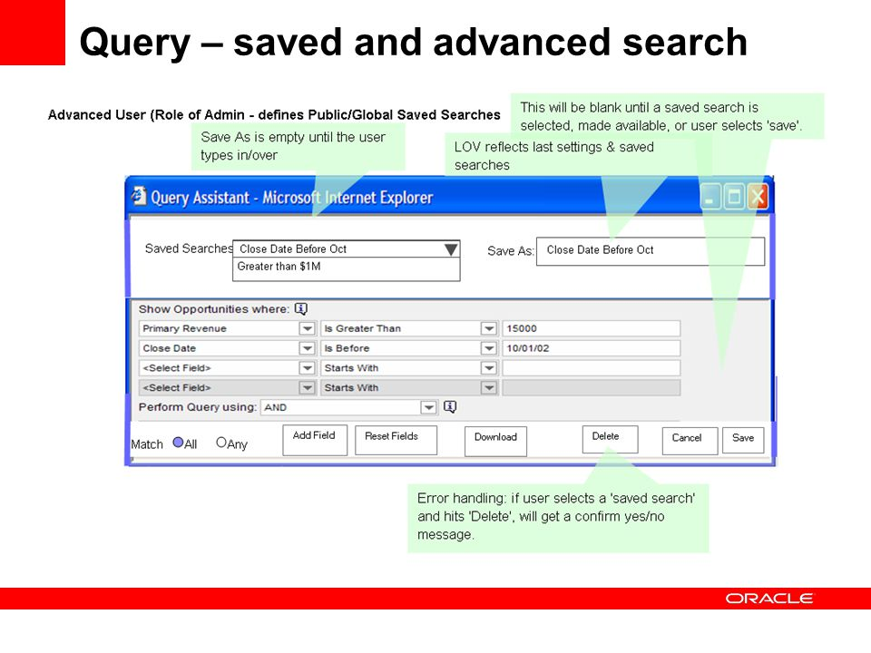 Query – saved and advanced search