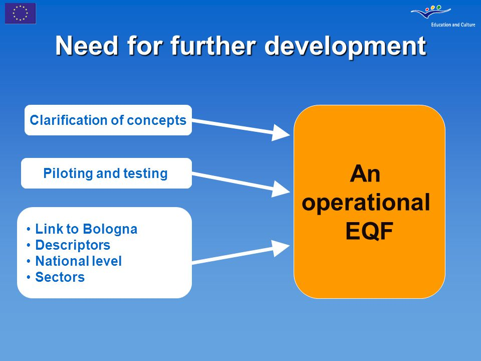 Need for further development An operational EQF Clarification of concepts Piloting and testing Link to Bologna Descriptors National level Sectors