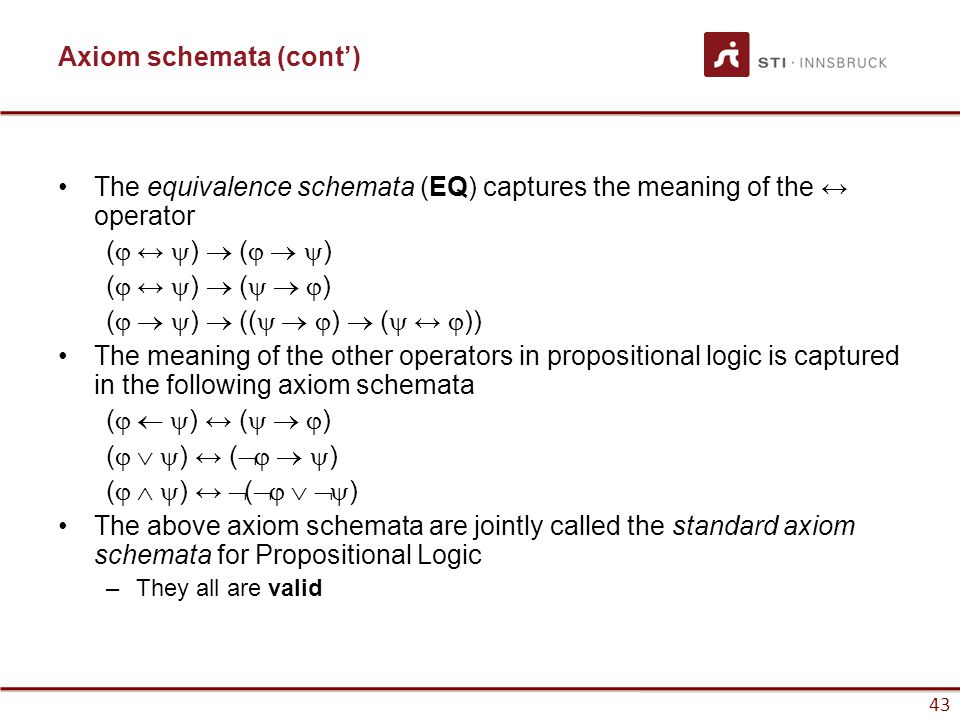 43 Axiom schemata (cont') The equivalence schemata (EQ) captures the meaning of the ↔ operator (  ↔  )  (   ) (  ↔  )  (   ) (  