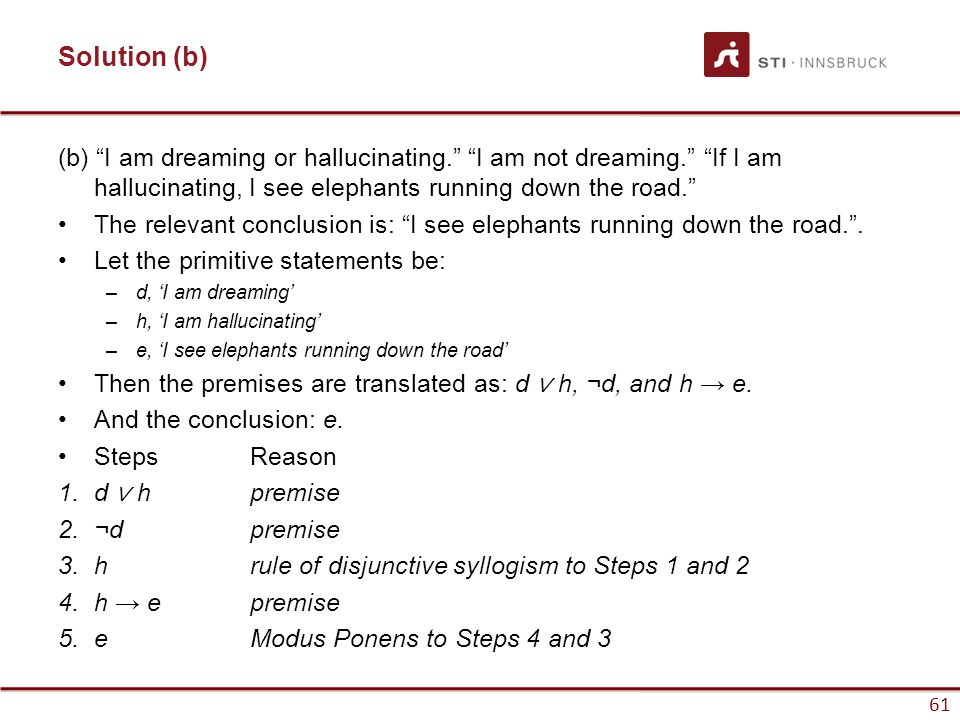 "61 Solution (b) (b) ""I am dreaming or hallucinating."" ""I am not dreaming."" ""If I am hallucinating, I see elephants running down the road."" The relevan"