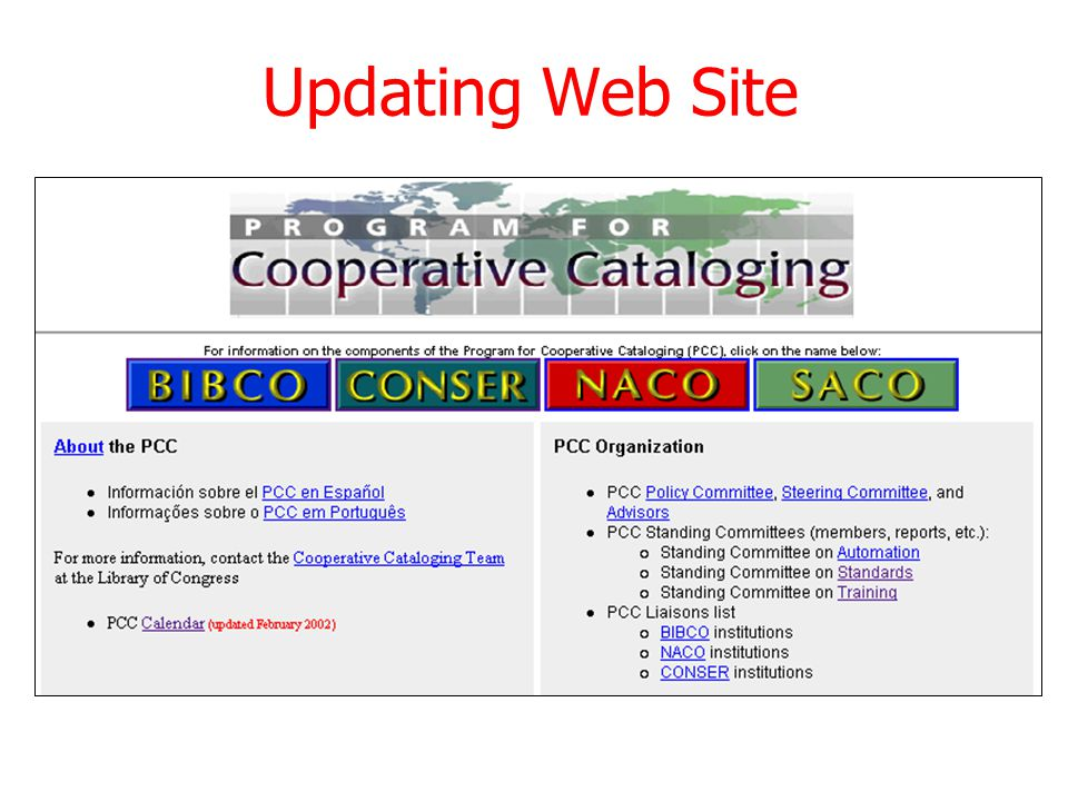 Updating Web Site